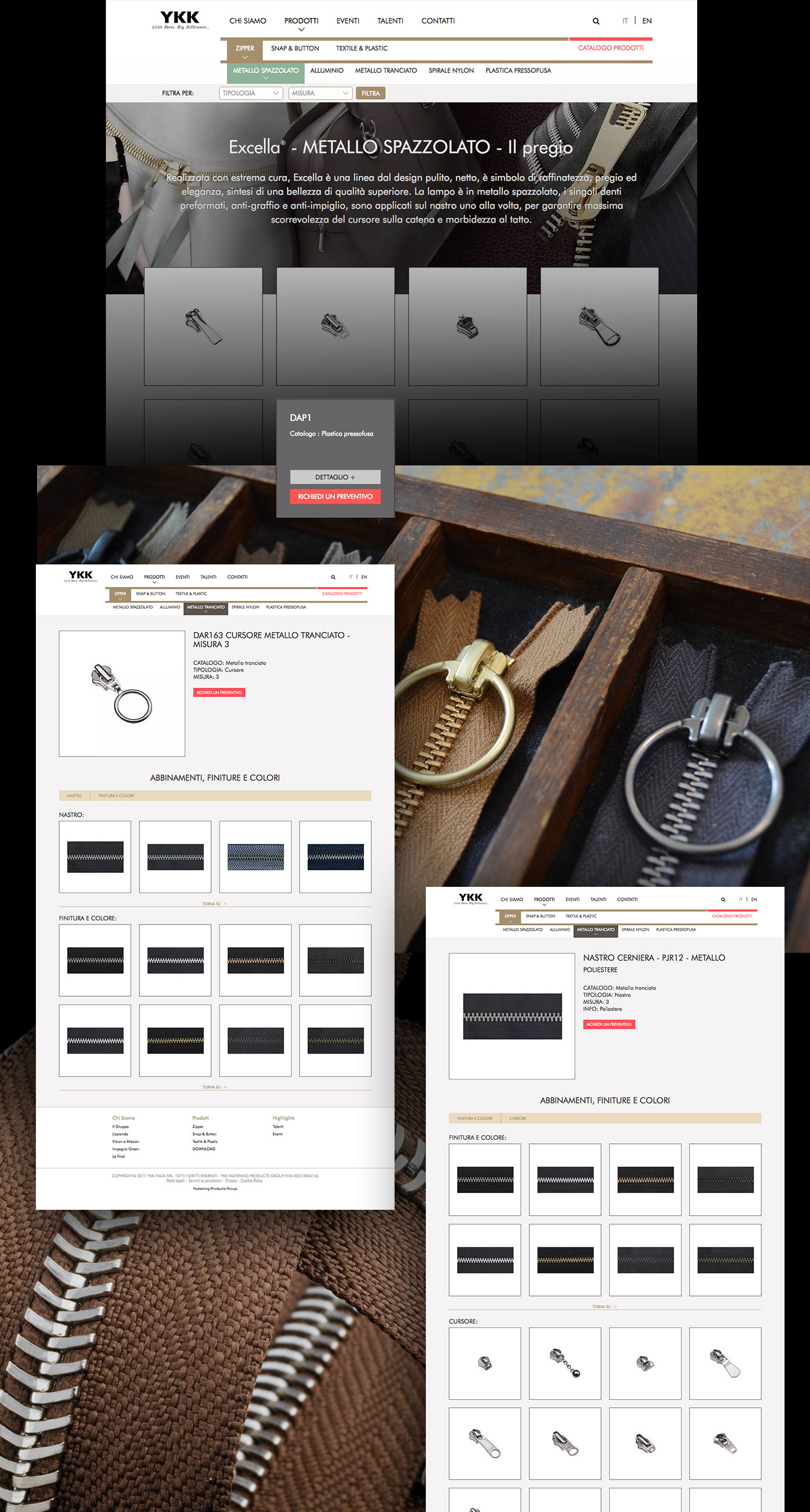 product page ykk italia grafico milano menu