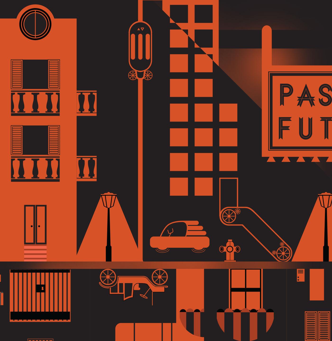3 past future grafico milano chaubet vectorial art