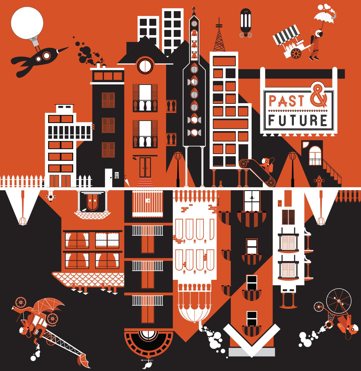 5 past future grafico milano chaubet vectorial art