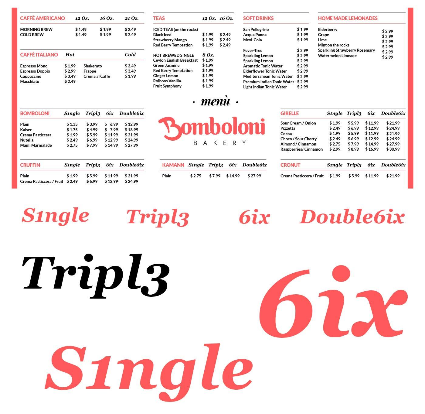 bomboloni menu grafico milano
