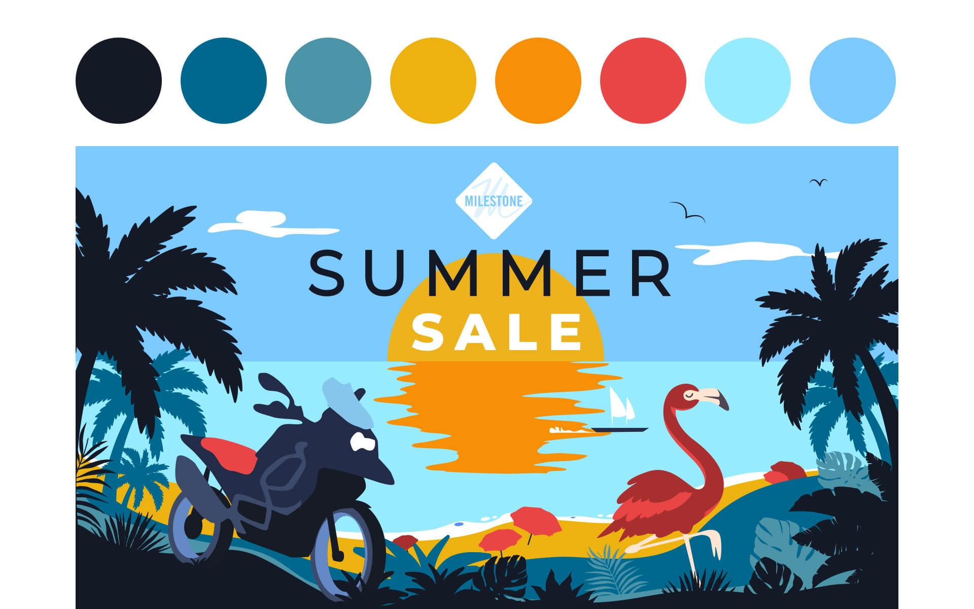illustrazione summer sale milestone grafico milano day