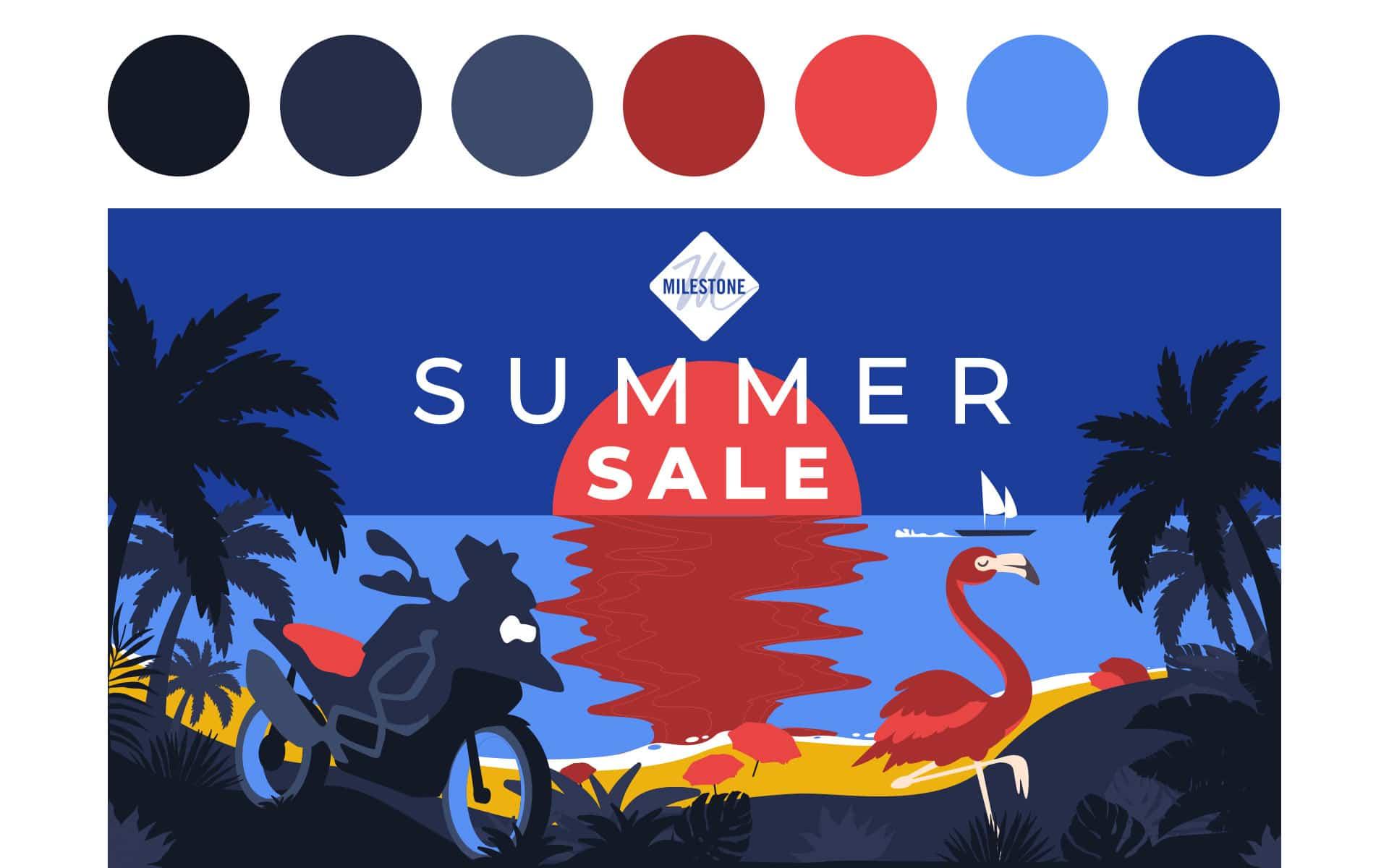illustrazione summer sale milestone grafico milano night