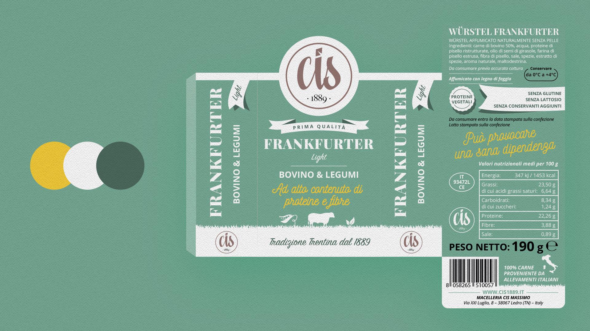 frankfurter bovino legumi CIS packaging grafico milano