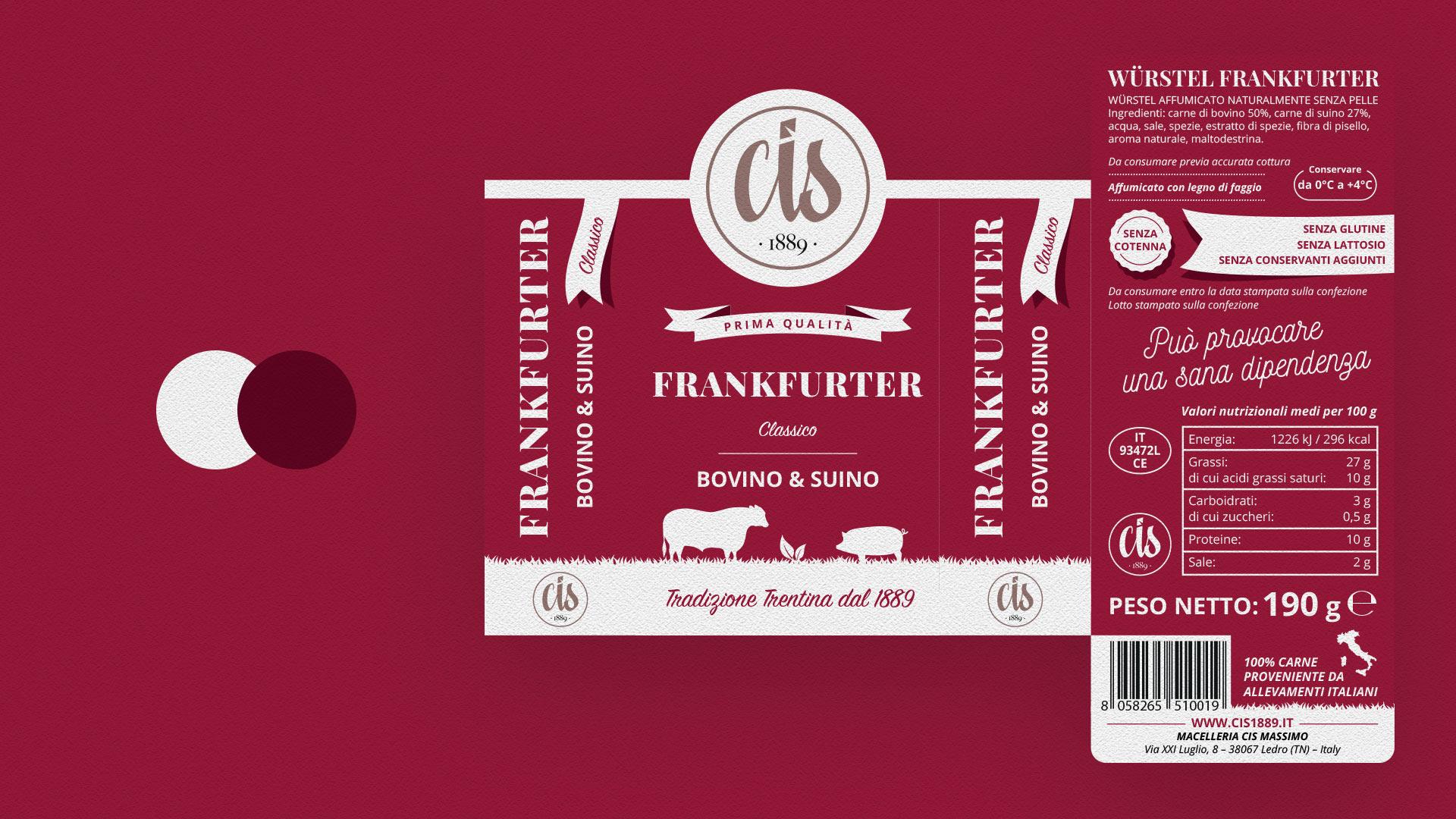 frankfurter suino bovino CIS packaging grafico milano